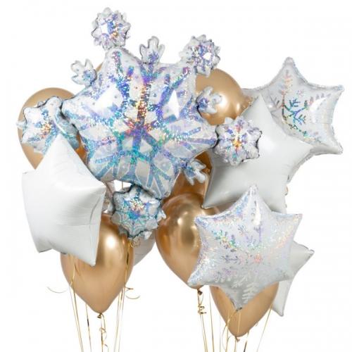 """Композиция """"Снежинки в золоте"""" из гелиевых надувных шаров - фото 1"""