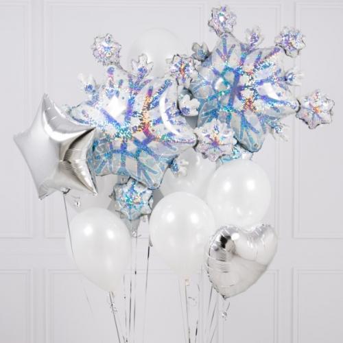 """Букет шаров """"Снежинки на стекле"""" из гелиевых шаров - фото 1"""