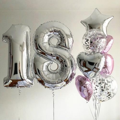 """Букет """"Восхищение"""" на день рождения из фольгированных шаров с цифрами - фото 1"""