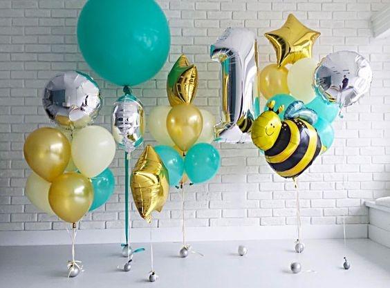 """Композиция из шаров """"Пчелка на лужайке""""на день рождения - фото 1"""