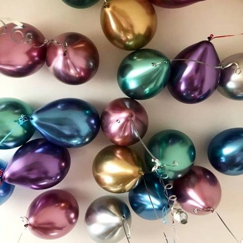 Гелиевые шары Хром под потолок 30шт - фото 1