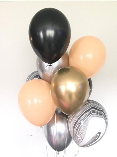 """Комплект """"Персиковый хром"""" из 12 гелиевых надувных шариков - фото 1"""
