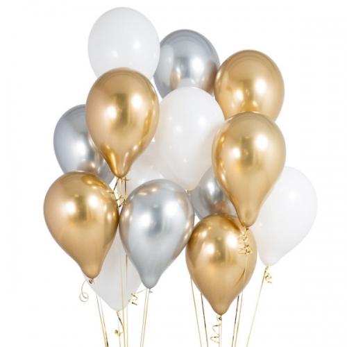 """Композиция """"Серебро в золоте"""" из 17 надувных шариков - фото 1"""