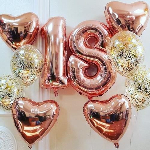 """Букет """"Gold pink"""" из гелиевых надувных шариков на 18-летие - фото 1"""