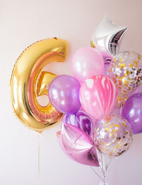 """Букет """"Баббл Гам"""" из гелиевых надувных шариков на день рождения - фото 1"""