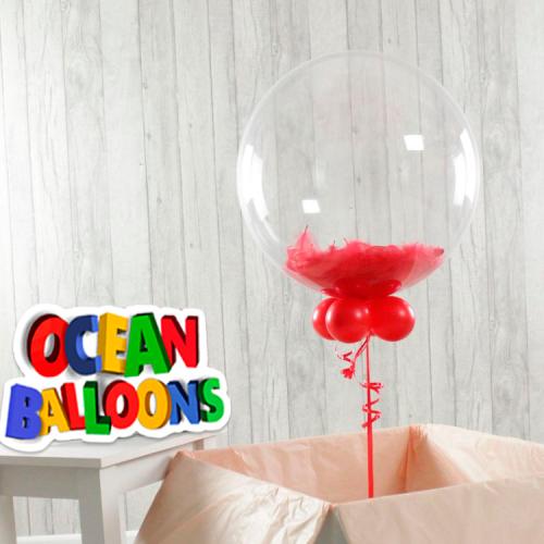 Прозрачная сфера Баблс с перьями в цвете красный, размер 76 см. - фото 1