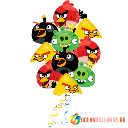 """Набор """"Злые птички"""" из 9 гелиевых надувных шаров - фото 1"""