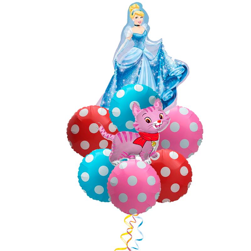 """Букетик-поздравление """"Доченьке"""" с днем рождения из фольгированных шариков - фото 1"""