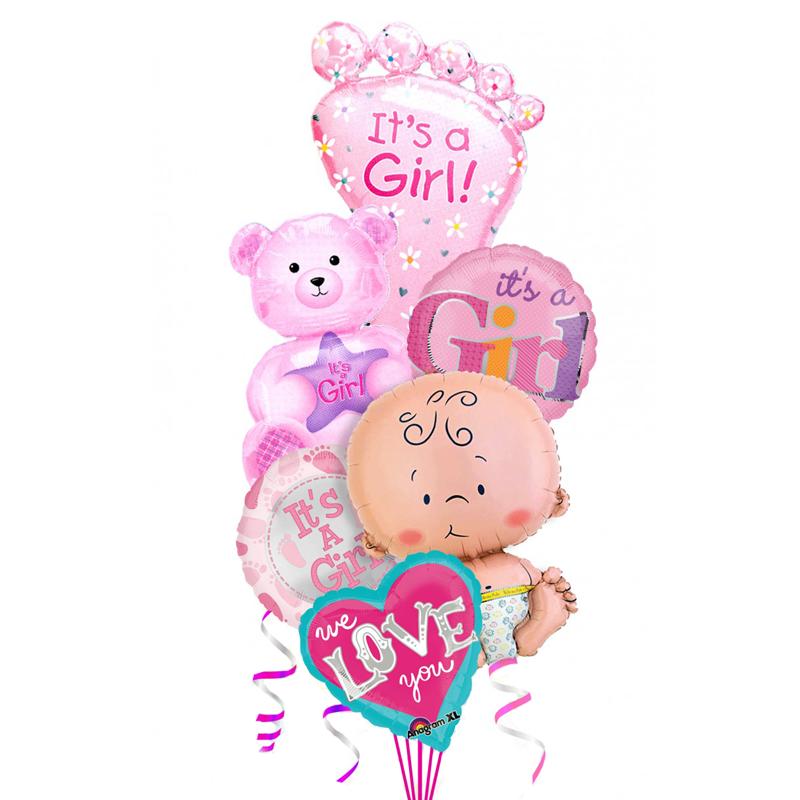 """Набор """"It's a girl"""" на выписку для девочки из 6 фольгированных шариков - фото 1"""