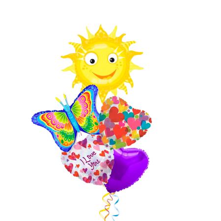 """Букет """"Весенний"""" из 5 фольгированных надувных шариков - фото 1"""