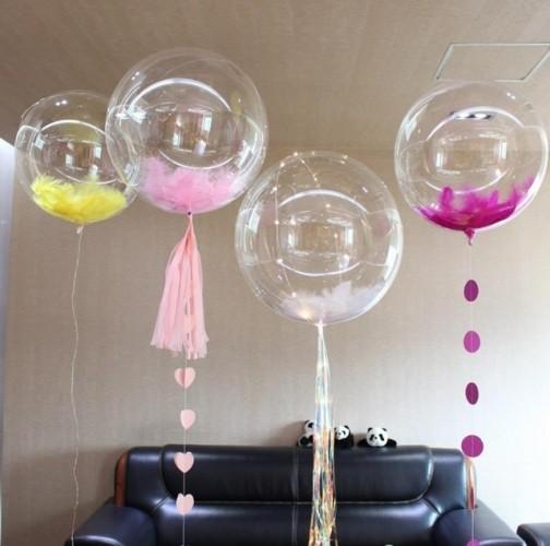 Прозрачный Шар Bubbles с перьями - фото 1
