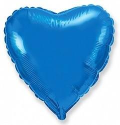 Фольгирванное гелиевое сердце, Синее - фото 1