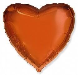 Фольгирванное гелиевое сердце, Оранжевое - фото 1