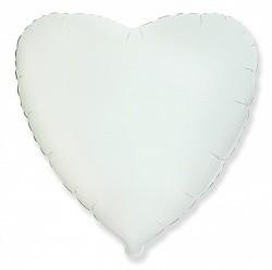 Фольгирванное гелиевое сердце, Белое - фото 1