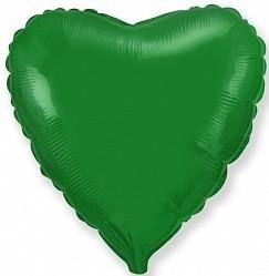 Фольгирванное гелиевое сердце, Зелёное - фото 1