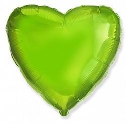 Фольгирванное гелиевое сердце, Лайм - фото 1