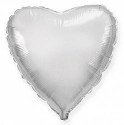 Фольгирванное гелиевое сердце, Серебряное - фото 1