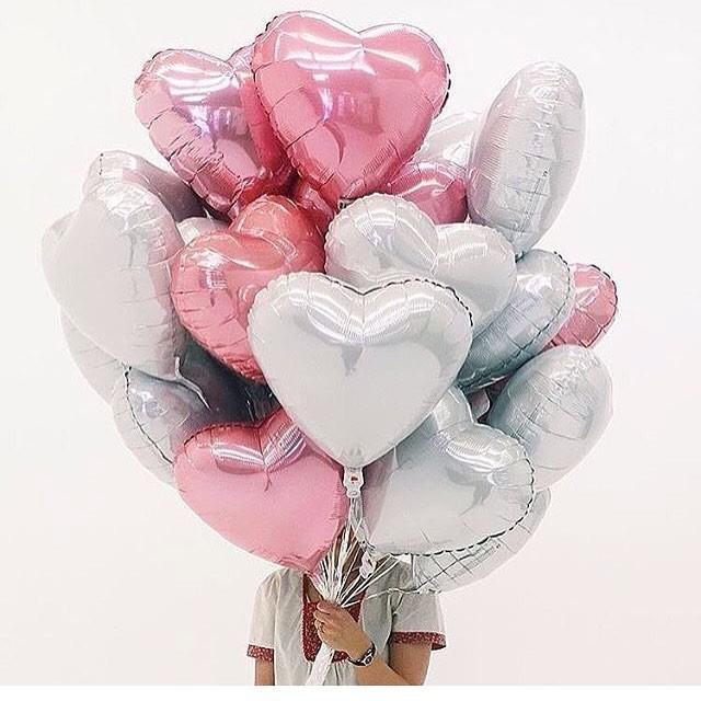 """Букет """"Мерцающие сердца"""" из фольгированных шариков в подарок - фото 1"""