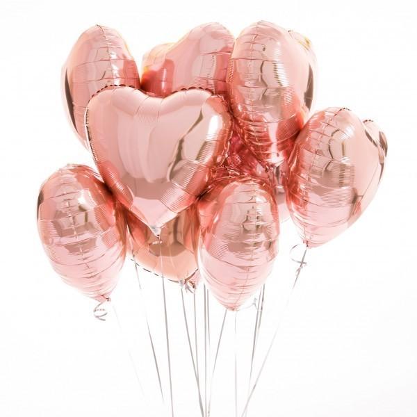 Фольгирванное гелиевое сердце, Розовое золото - фото 1