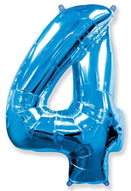 """Фольгированный шар-цифра """"4"""" синяя с гелием - фото 1"""
