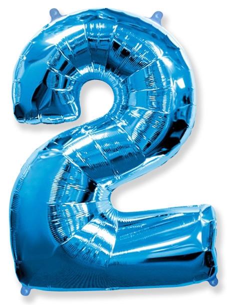 """Фольгированный шар-цифра """"2"""" синяя с гелием - фото 1"""