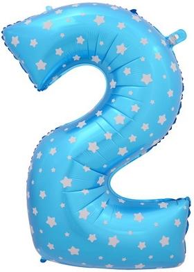"Шар-цифра ""2"" голубая со звездочками - фото 1"