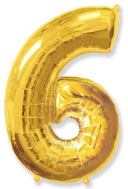 """Фольгированный шар-цифра """"6"""" золоая - фото 1"""