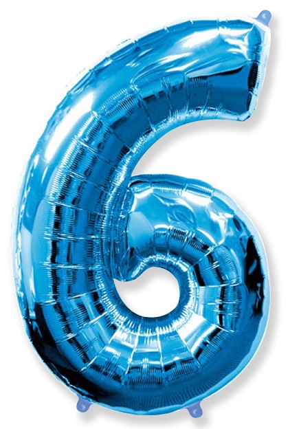 """Фольгированный шар-цифра """"6"""" синяя с гелием - фото 1"""