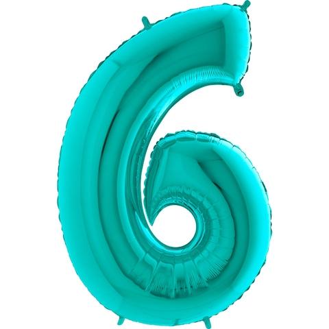 "Фольгированный шар-цифра ""6"", Тиффани - фото 1"