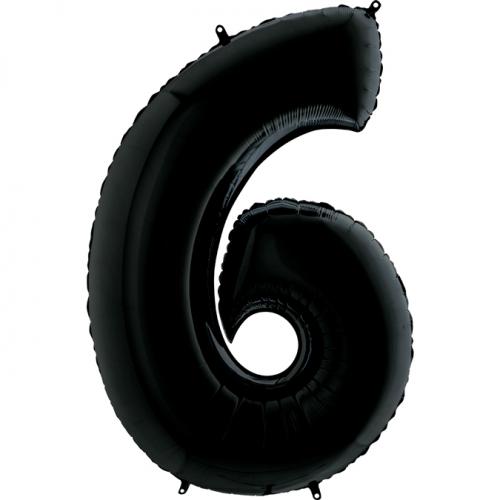 """Воздушный фольгированный шар-цифра """"6"""" черная - фото 1"""