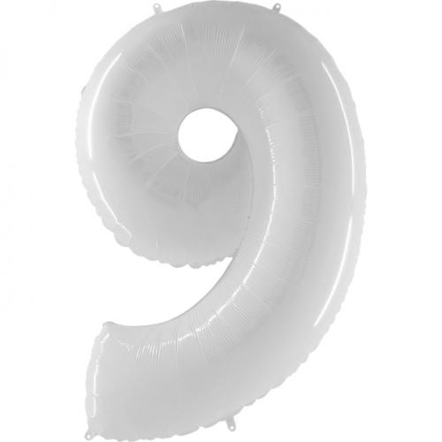 """Воздушный фольгированный шар-цифра """"9"""" белая - фото 1"""