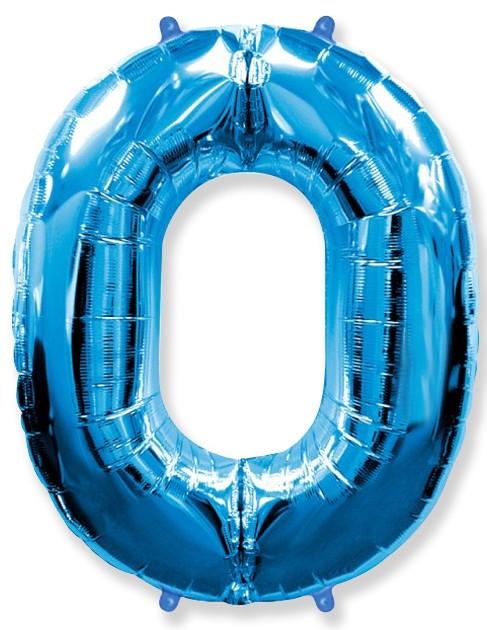 """Фольгированная шар-цифра """"0"""", Синяя - фото 1"""