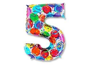 """Шар-цифра из фольги """"5"""" с цветным рисунком - фото 1"""