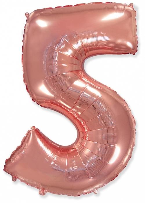 """Шар-цифра из фольги """"5"""", Розовое золото - фото 1"""