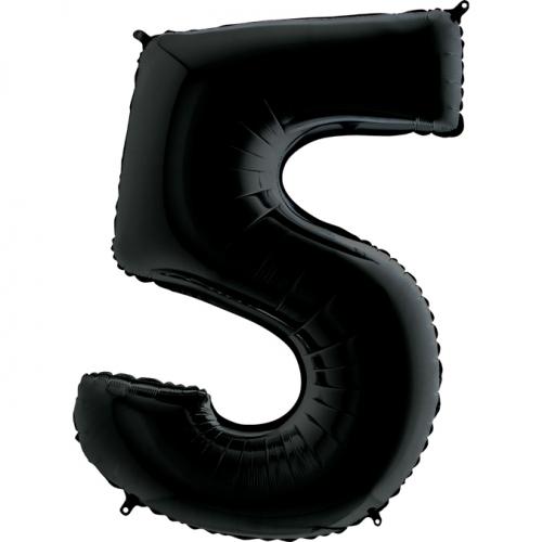 """Воздушный фольгированный шар-цифра """"5"""", Черная - фото 1"""