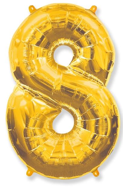 """Фольгированный шар-цифра """"8"""" золоая - фото 1"""