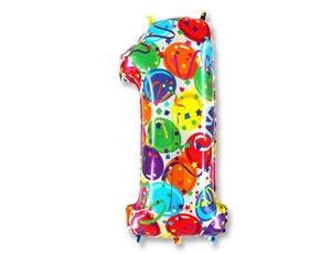 """Воздушный шар-цифра из фольги """"1"""" с цветным рисунком - фото 1"""