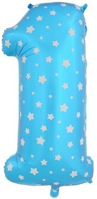 """Надувной шар-цифра """"1"""" голубая со звездочками - фото 1"""
