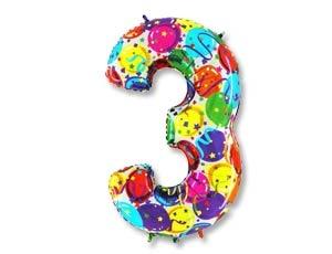 """Воздушный шар-цифра из фольги """"3"""" с цветным рисунком - фото 1"""