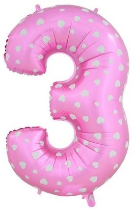 """Фольгированный шар-цифра """"3"""" розовая с сердечками - фото 1"""
