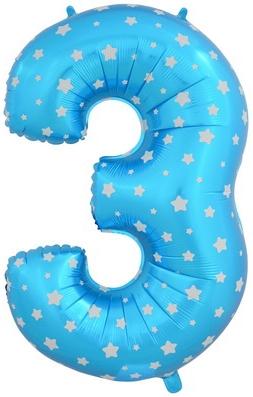 """Надувной шар-цифра """"3"""" голубая со звездочками - фото 1"""