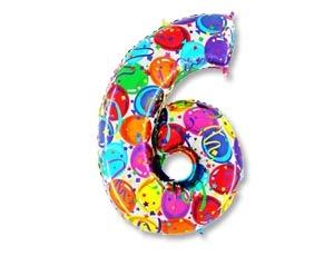 """Воздушный шар-цифра из фольги """"6"""" с цветным рисунком - фото 1"""