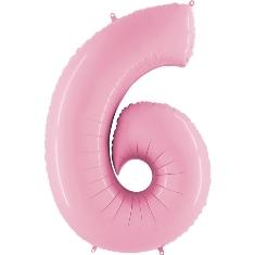"""Шар-цифра из фольги """"6"""" пастельный нежно-розовый - фото 1"""