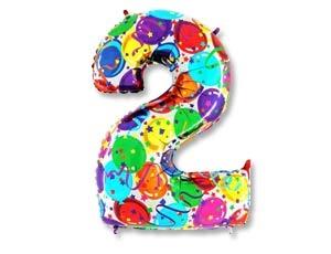 """Воздушный шар-цифра из фольги """"2"""" с цветным рисунком - фото 1"""
