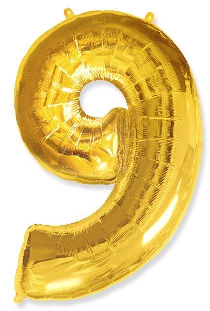 """Фольгированный шар-цифра """"9"""" золоая - фото 1"""