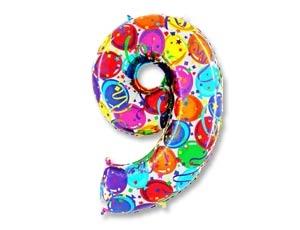 """Воздушный шар-цифра из фольги """"9"""" с цветным рисунком - фото 1"""