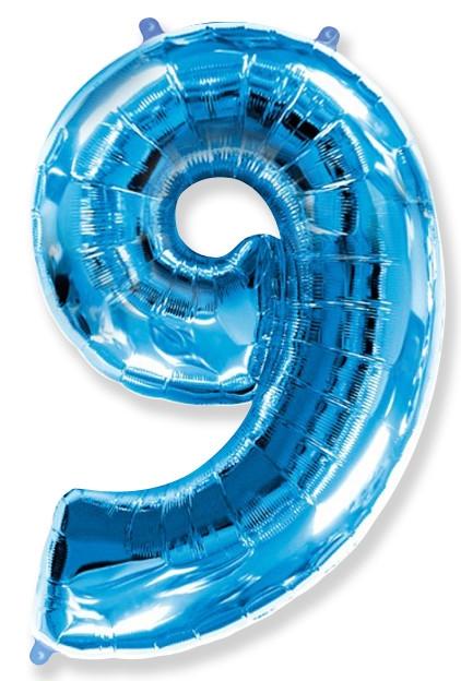 """Фольгированная шар-цифра """"9"""", Синяя - фото 1"""