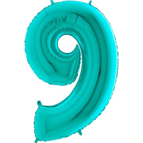 "Фольгированный шар-цифра ""9"", Тиффани - фото 1"