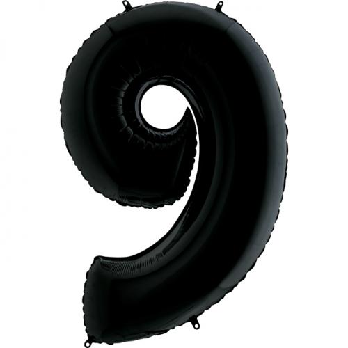 """Воздушный фольгированный шар-цифра """"9"""", Черная - фото 1"""