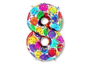 """Гелиевый шар-цифра из фольги """"8"""" с цветным рисунком - фото 1"""